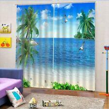 Scenery Window Curtain Blue SkyBeach Printed Window Curtains Drapes Home Decor