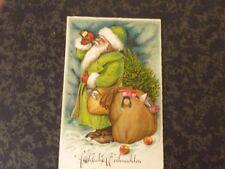 p Ak  Weihnachten Nikolaus grüner Mantel trinkt aus Flasche Spielzeug Sack  1939