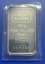 CREDIT SUISSE - 50 Gramm Feinsilber Barren in Originalverpackung - Silber 999/-