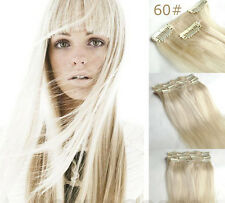 "15""-24"" 100 Clip in Real Human Hair Extensions Platinum Blonde #60 for Women 20"" 70g 7 Pcs"