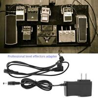 Guitar Effect Pedal Power Supply 9V US Adapter 3 way Daisy Chain Cable 100-240V