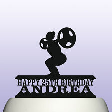 Personalised Acrylic Powerlifting Squat Womens Birthday Cake Topper