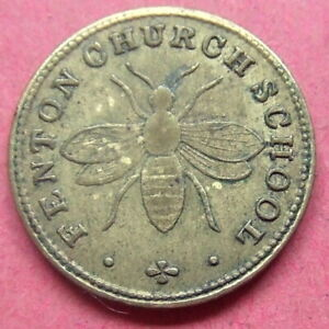 Fenton Church School - small brass token.........O175