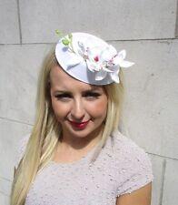 White Orchid Flower Pillbox Hat Fascinator Races Rockabilly 1950s Vintage 3225