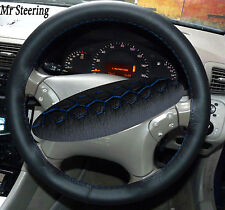 FOR MERCEDES S CLASS W220 98-05 BLACK LEATHER STEERING WHEEL COVER BLUE STITCH