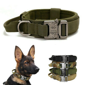 UK Tactical Dog Collar Heavy Duty Metal Buckle Military Nylon Soft Handle