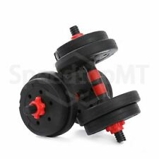 10KG Pair Body Train Gym Adjustable Black&Red Barbells Cement Dumbbells Indoors
