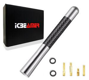 "JDM 5"" Inch Real Carbon Fiber Silver Antenna Billet Aluminum For Car/Truck B28"