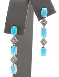 4.06 Ct Natural Blue Turquoise and Diamond in 14K Solid White Gold Stud Earrings
