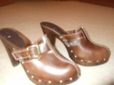 "New Look Brown Leather Mules with adjustable front strap 4""heel 1/2""sole S 6 E39"