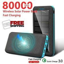 SOLAR POWER BANK 80000MAH WIRELESS Qi PORTABLE FAST CHARGER USB EXTERNAL BATTERY