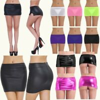Sexy Women Wet Look Leather Micro Mini Skirt See Through Lingerie Fancy Costume