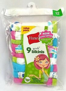 Hanes Colorful Underwear Set, Size 12 Hanes Girls Bikinis Count of 9 Pieces