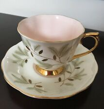 Vintage ROYAL ALBERT BREAMAR BONE CHINA Eng. White/Pink/Gold - Cup and Saucer