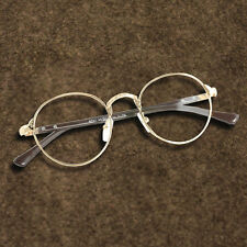 Gold Full-Rim Spectacles Women Vintage Oval Eyeglass Frame Man Plain Glass Clear
