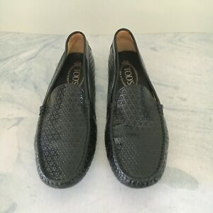 Tod's Black Lasercut Patent Leather Gommino Loafers Size 39.5