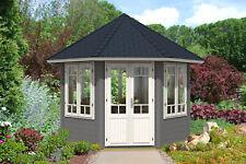 Gartenpavillon Katrin-34 mit 7 Fenstern Holz 28 mm 337 cm Spitzdach Gartenhaus