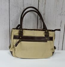 Relic Tan Canvas And Brown Leather w/ Accents Of Animal Print Satchel Handbag