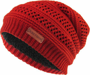Knit Slouch Beanie Sherpa Fleece Lined Thick Hat Cap Beanie Cold Weather KBW-275