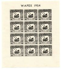 Wapex Sheet Block of 12 1954 3½d Black Western Australia Postage Stamp Centenary