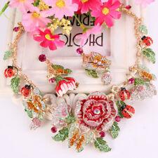 Rose Butterfly Ladybug Flower Pink Austrian Crystal Necklace Earrings Set Women