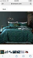 Opcloud Bedding Duvet-Cover-Set, King Green Pine Pattern