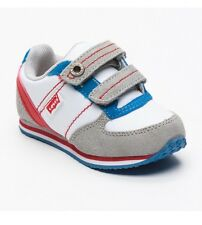 Levi's Joog 2V boys textile and suede white grey trainers shoes  UK 2  EU 34