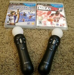 2 x Sony PlayStation Move Motion Controller for PS4 VR PS3 (CECH-ZCM1U) w/ Games
