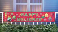 4 Ft. Red Lighted HAPPY HOLIDAYS Banner Ornaments Christmas Outdoor Yard Decor
