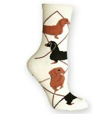 Ivory DACHSHUND Socks~Wheel House~L~Mix n' Match Get 4th Pair FREE Sale! Gift!