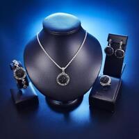 Fashion Black Rhinestone 4pcs Women Jewelry Set Earrings Necklace Bracelet Ring