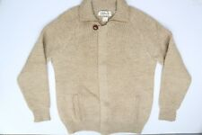 VTG B Altman Wool Sweater M Hidden Zip Fly Front Raglan Knit Beige Collar Italy