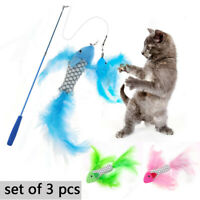 3x Cat Feather Toy Catnip Kitten Toys Plush Scratcher Interactive Pet Fish US