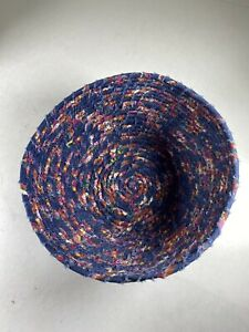 """Multicolored Round Basket Bowl of Coiled Rag Cloth Basket Handmade 8""""x3.25"""" Cn"""