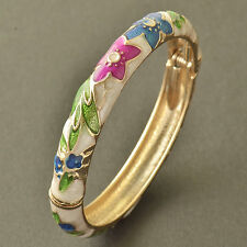 Multi Color Enamel 9K Yellow Gold Filled Flower Band Bangle Free Shipping