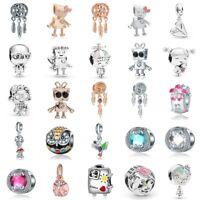 European Silver Charms Robot Beads Enamel CZ Pendants Fit 925 Sterling Bracelets
