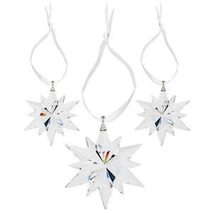 Swarovski Christmas Clear Crystal Snowflake Star Ornament Set