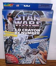 STAR WARS a New Hope CRAYON BY NUMBER set in box 1996 Rose Art COMPLETE unused