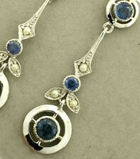 E132 Genuine 9ct Solid White Gold NATURAL Sapphire & Pearl Drop Vintage Earrings