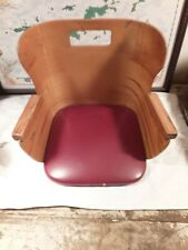 Vintage Child's Barber Booster Seat Bent Wood Red Vinyl Set Very Cool