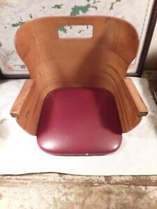 Vintage Child's Barber Booster Seat Bent Wood Red Vinyl Set Very Cool