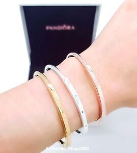 PANDORA Rose Gold 925 Signature I-D bangle Bracelet 569493C00 589493C00 599493C0