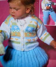 "R1073 Girl Boy DK Charted Cardigan,Skirt, Pants 18-22"" Vintage Knitting Pattern"