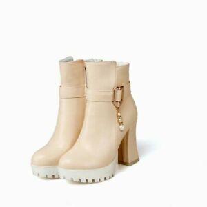 Women's Platform Punk Ankle Boots Zip Casuals Shoes Round Toe Buckle Block Heels