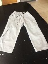 Grey Maternity Linen Cropped Trousers Size Small 8-10