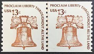 U S Liberty Bell, Coil Line Pair, Scott1618, Dull Gum, Americana Issue, MNH, VF