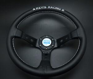 340mm KEY's Leather Deep Dish Steering Wheel For OMP Hub Racing Drifting Rally