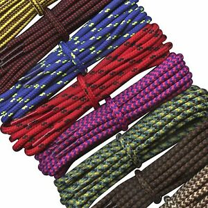 Round Work Shoe Boot Laces 4 mm Shoelaces for Walking, Hiking, CAT, Timberland