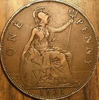 1931 UK GB GREAT BRITAIN ONE PENNY