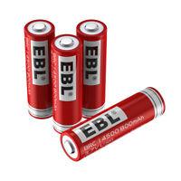 4pcs EBL 14500 3.7V 800mAh Rechargeable Li-ion Battery for LED Flashlight Torch